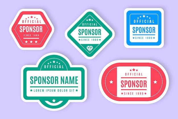 Sponsor stickers collection Free Vector