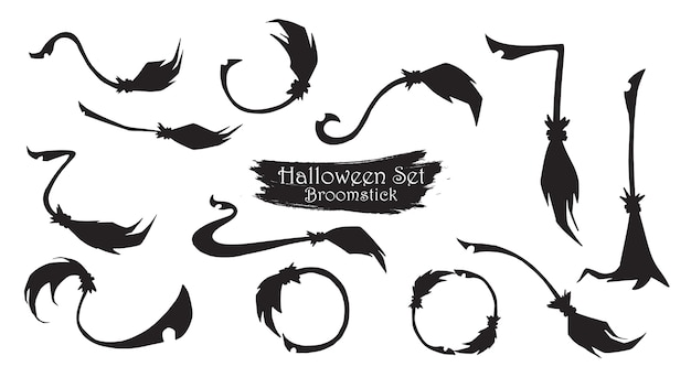 Spooky broomstick silhouette collection of halloween Premium Vector