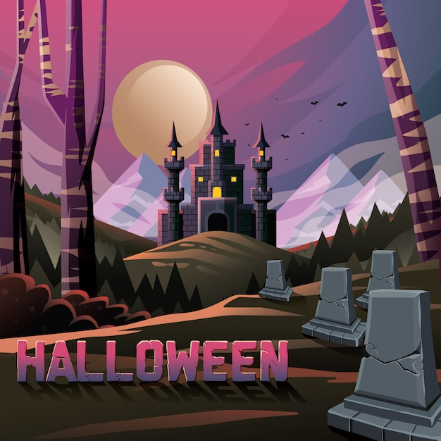 Spooky castle in jungle forest  with graves Premium Vector