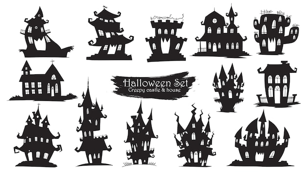 Spooky castle silhouette collection of halloween Premium Vector
