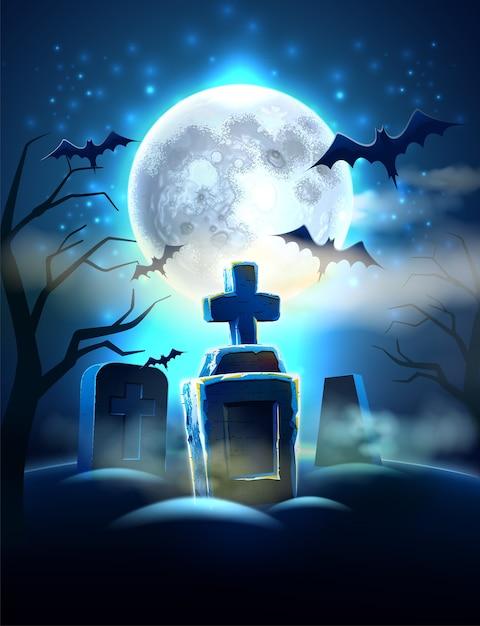 現実的な墓、満月の背景に怖いコウモリと不気味な墓地のハロウィーンの背景。月明かりの下でホラー墓地。 Premiumベクター