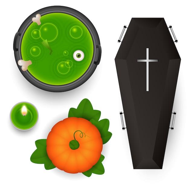 Spooky design elements for halloween Free Vector