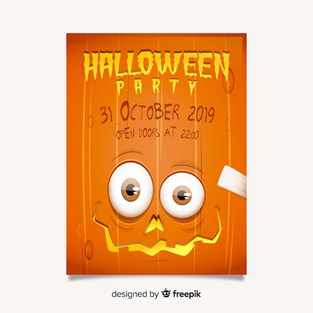 Spooky eyed pumpkin halloween party flyer template Free Vector