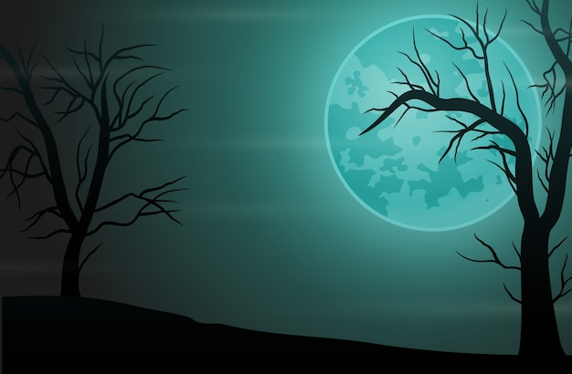 満月と不気味な森の夜の背景 Premiumベクター