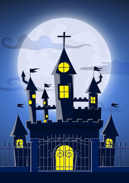 Spooky ghost castle with full moon Premium Vector