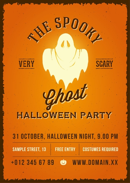 The spooky glowing ghost abstract  vintage poster, card or flyer. Free Vector