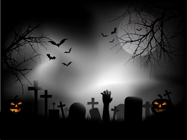 Жуткое кладбище с рукой зомби, выходящей из земли Бесплатные векторы