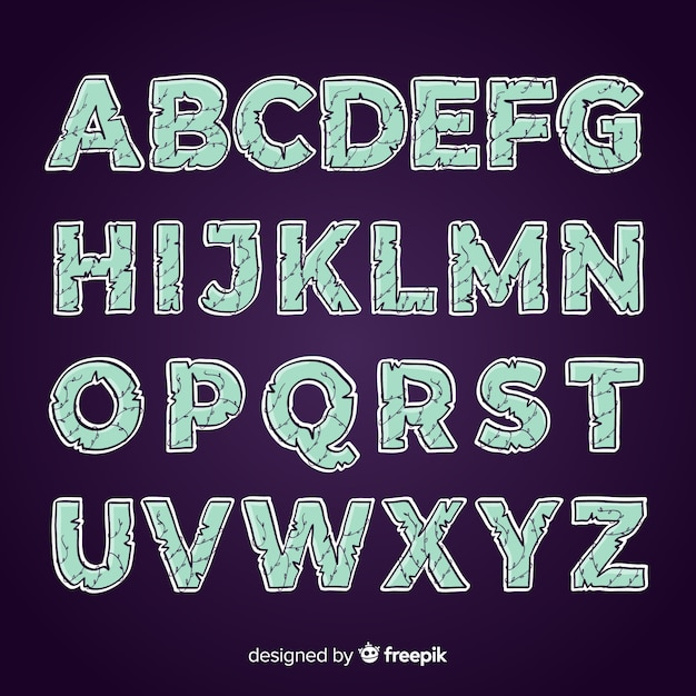Spooky halloween alphabet set Free Vector