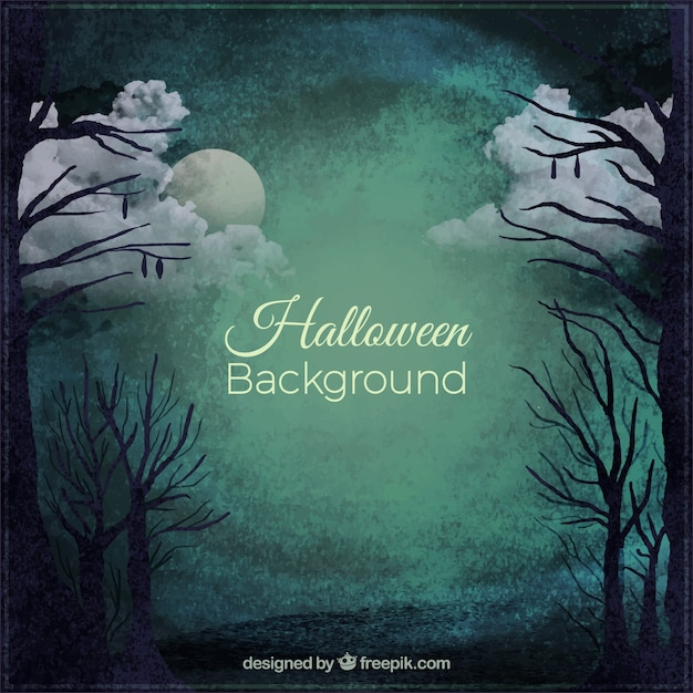 Spooky halloween background of a still forest by night Free Vector