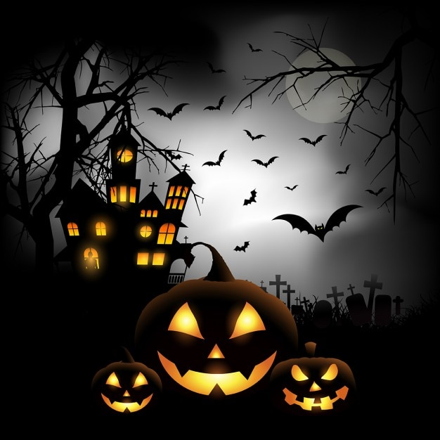 Spooky halloween background with pumpkins in a cemetery Free Vector