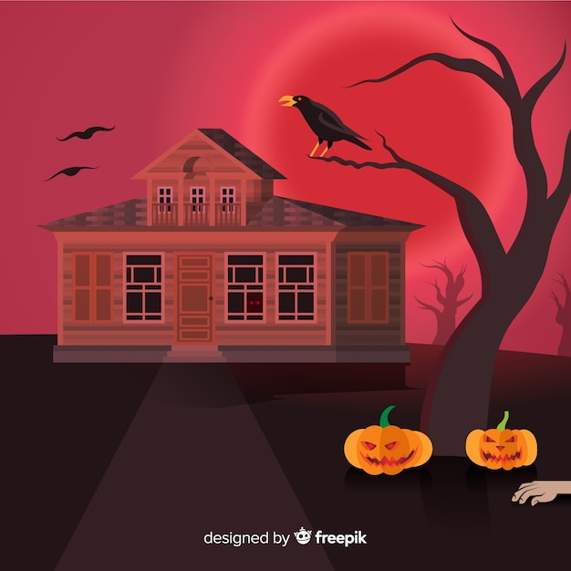 Spooky halloween background with realistic design Free Vector
