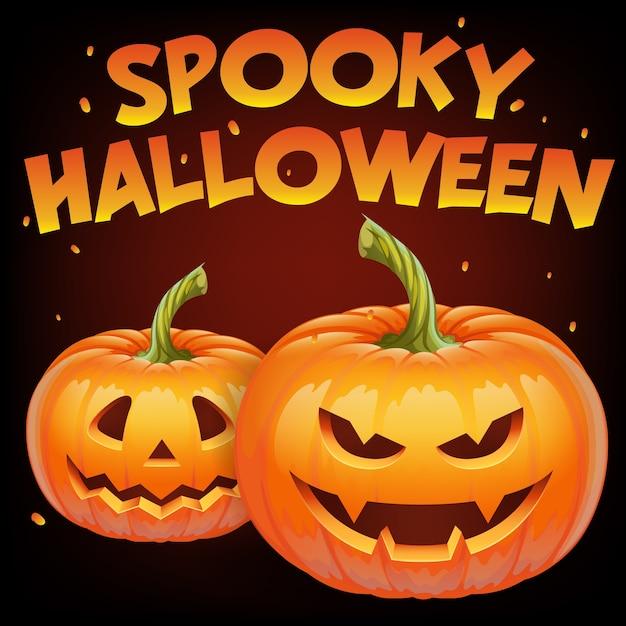 カボチャの顔-邪悪な笑顔のジャックoランタン、秋の休日バナーと不気味なハロウィーンのバナー。 Premiumベクター