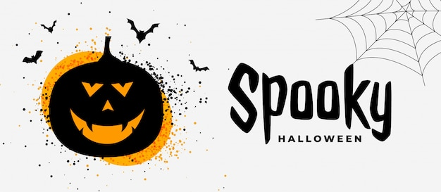 Spooky halloween banner with smiling pumpkin ghost Free Vector
