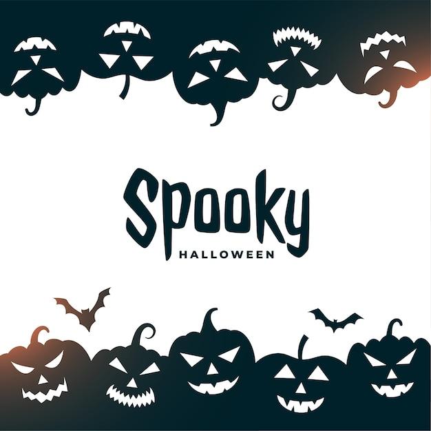 Жуткая открытка на хэллоуин с летучими мышами и страшными тыквами Бесплатные векторы