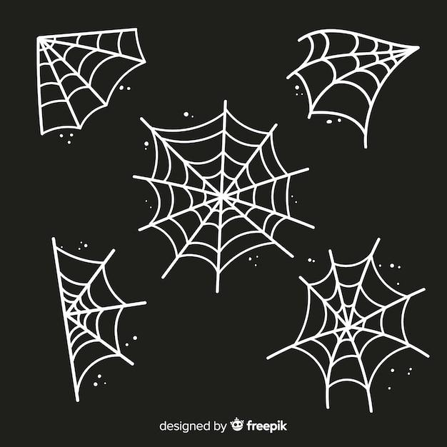 Spooky halloween cobweb decoration element Free Vector
