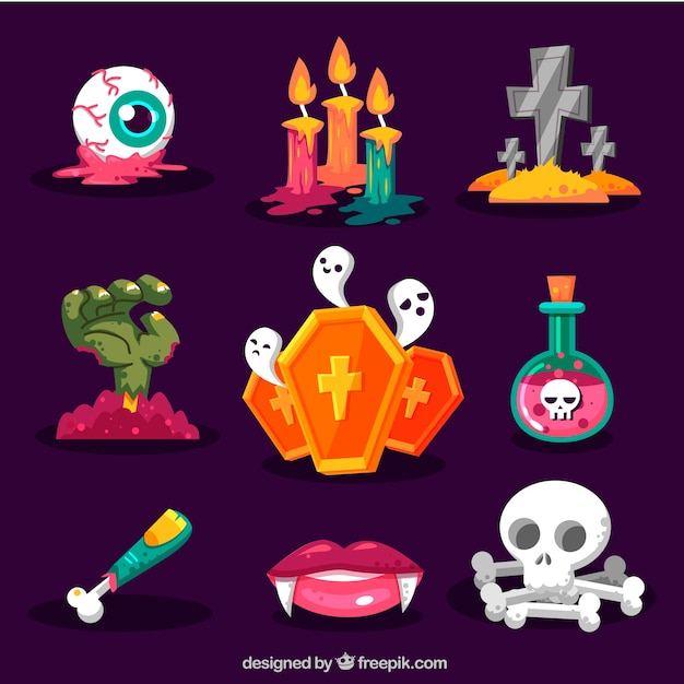 spooky halloween elements pack free vector - Spooky Halloween Pictures Free