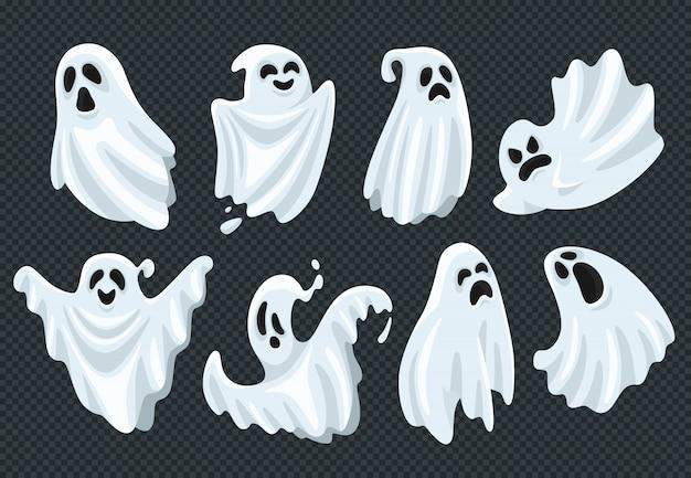 Spooky halloween ghost set Premium Vector