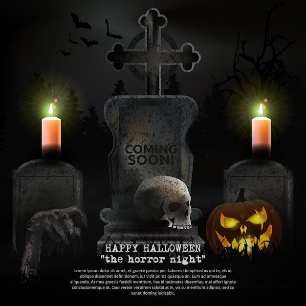 Spooky halloween graveyard vector Premium Vector