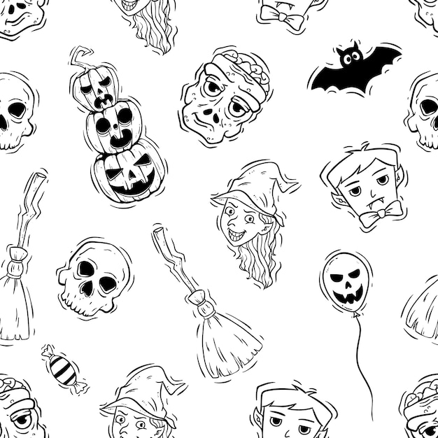 Spooky halloween icons or elements in seamless pattern Premium Vector