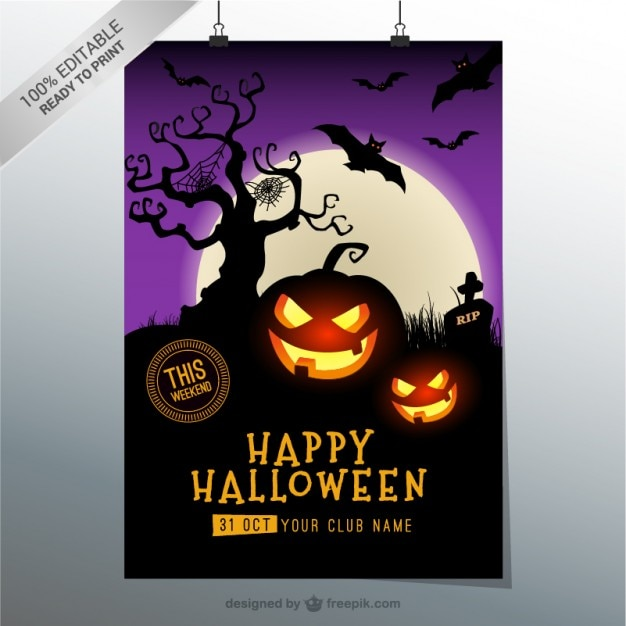 Spooky Halloween Party Flyer Vector | Free Download