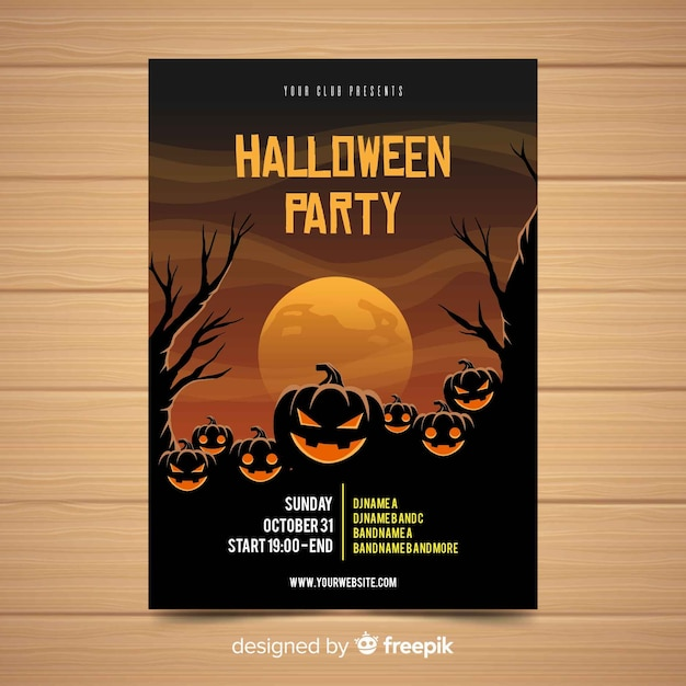 Spooky halloween party poster with flat design Free Vector