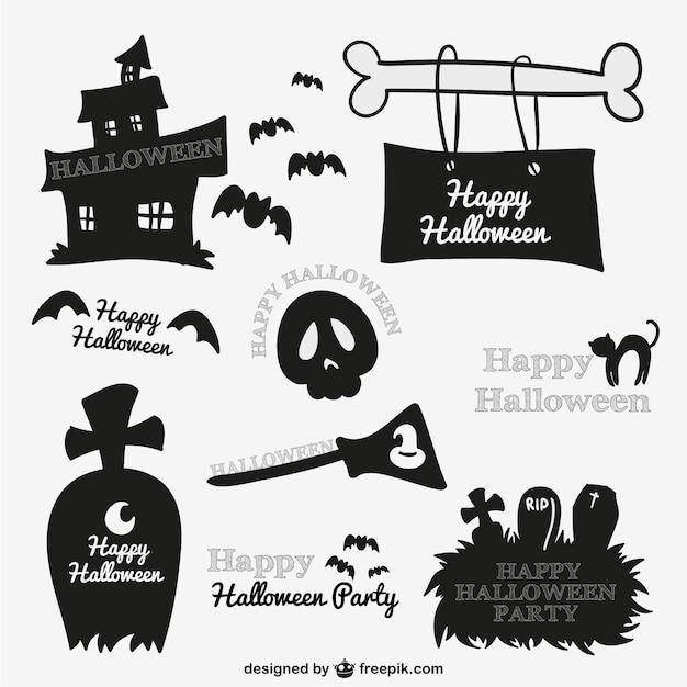 Spooky Halloween stickers Free Vector