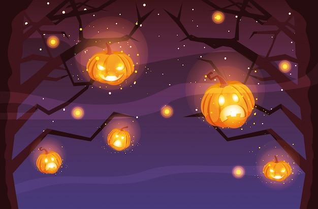 Spooky halloween tree with pumpkins in scene of halloween Premium Vector