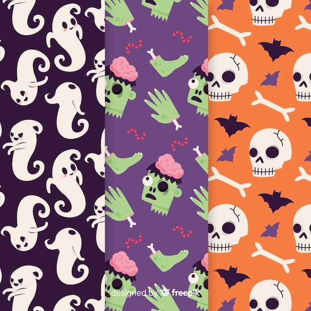 Spooky hand drawn halloween pattern Free Vector