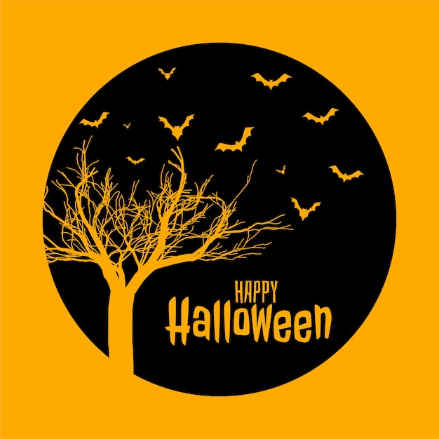 Free Vector Spooky Happy Halloween Flat Style Yellow Card Design