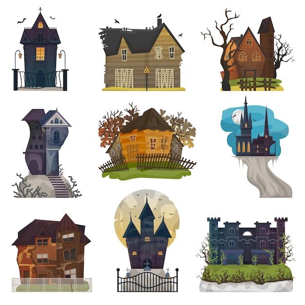 Spooky house vector haunted castle with dark scary horror nightmare Premium Vector