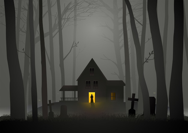 Spooky house in the woods Premium Vector