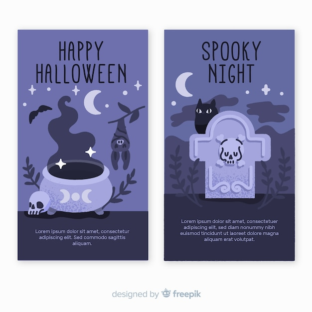 Spooky night hand drawn halloween banners Free Vector