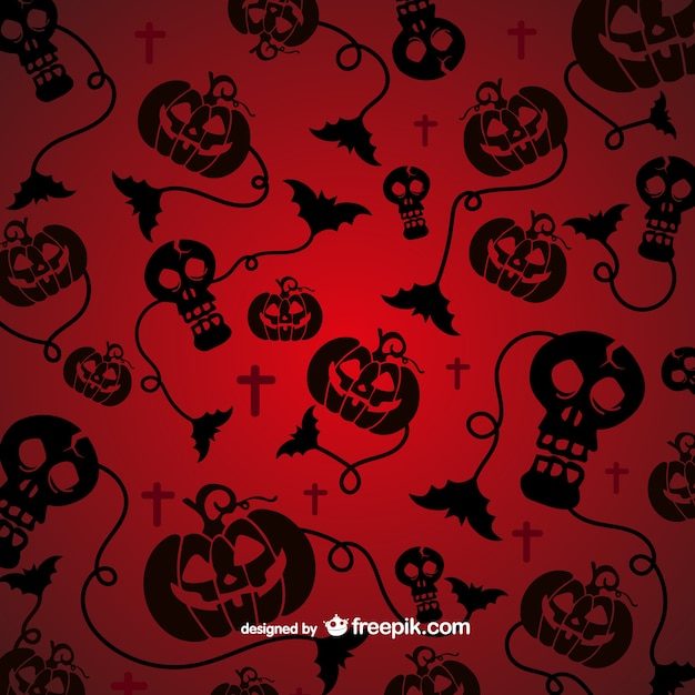 Spooky pattern for Halloween with black\ silhouettes