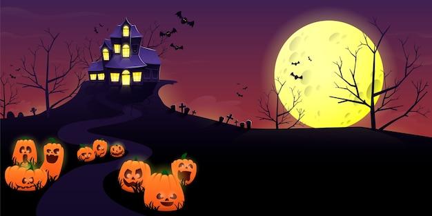 밤에 유령의 집과 유령의 집 프리미엄 벡터