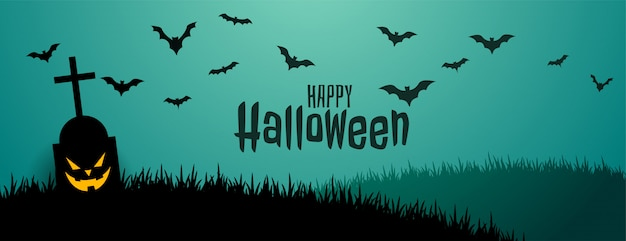 Spooky and scary halloween banner with flying bats Free Vector