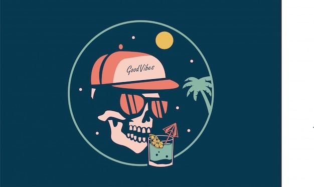 Spooky skeleton drinking wine Premium Vector