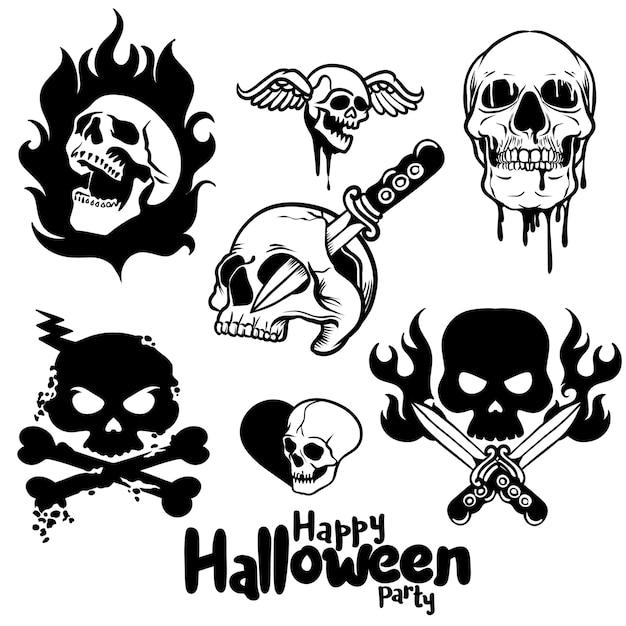 Spooky Skulls And Bones,halloween Hand-drawn Decoration