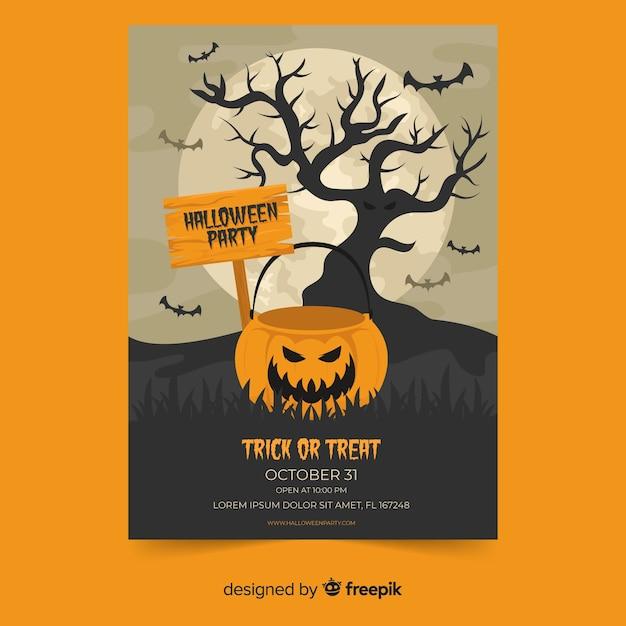 Spooky smiley pumpkin flat halloween poster Free Vector
