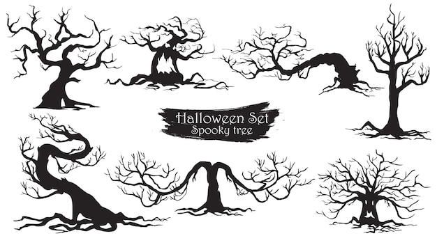 Spooky trees silhouette collection of halloween Premium Vector