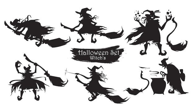 Spooky witch with brooms and hats silhouette collection Premium Vector