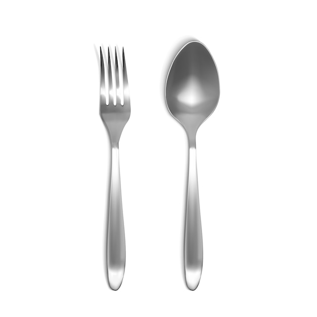 Spoon and fork 3d illustration. isolated realistic set of silver or metal tableware Free Vector