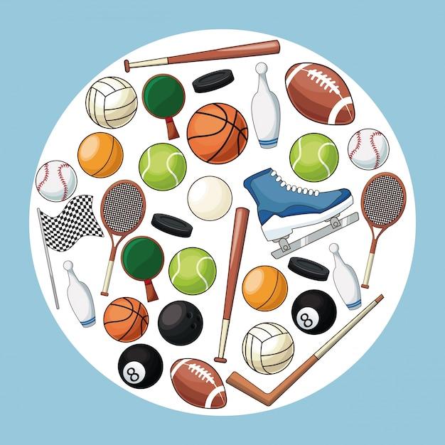 Sport accessories equipment icon Premium Vector