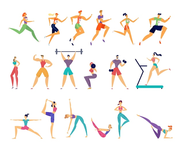 스포츠 활동 세트. 남성과 여성 운동가 캐릭터 운동. 프리미엄 벡터