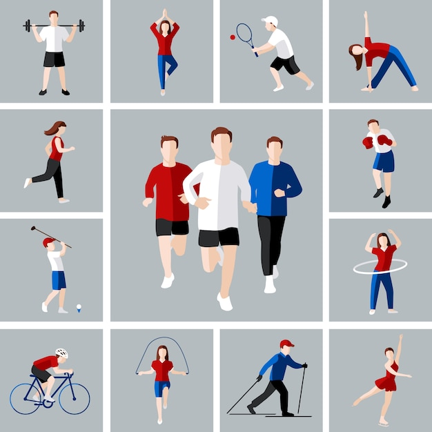 Sport and leisure people activities icons set isolated ...