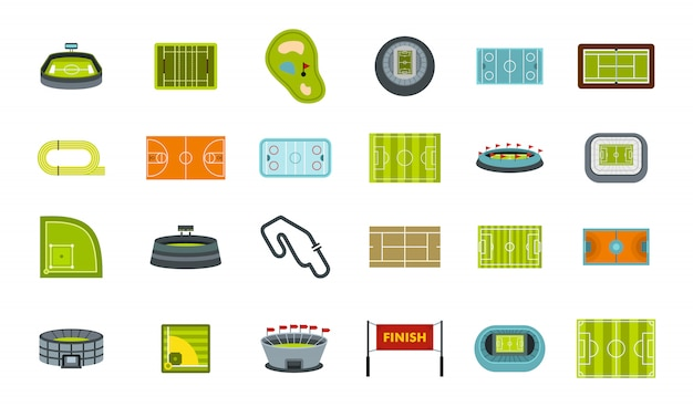 Sport arena icon set. flat set of sport arena vector icons collection isolated Premium Vector