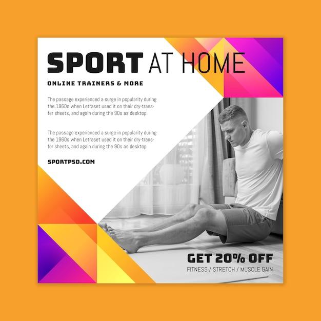 自宅でのスポーツチラシ広場 Premiumベクター