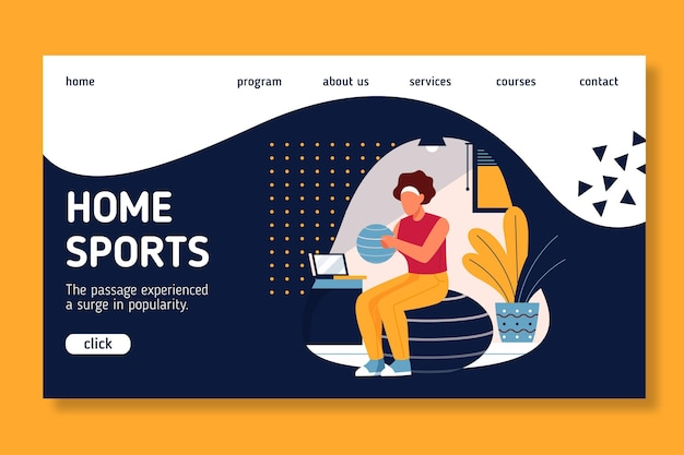 自宅でのスポーツのランディングページスタイル 無料ベクター
