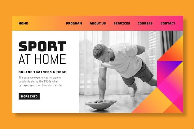 自宅でのスポーツのランディングページ 無料ベクター