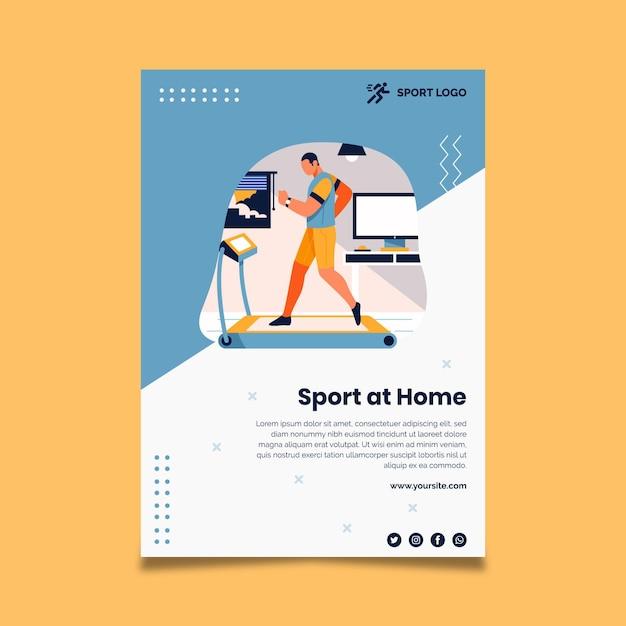 自宅でのスポーツポスター Premiumベクター
