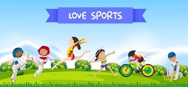 Sport athletes in nature Premium Vector